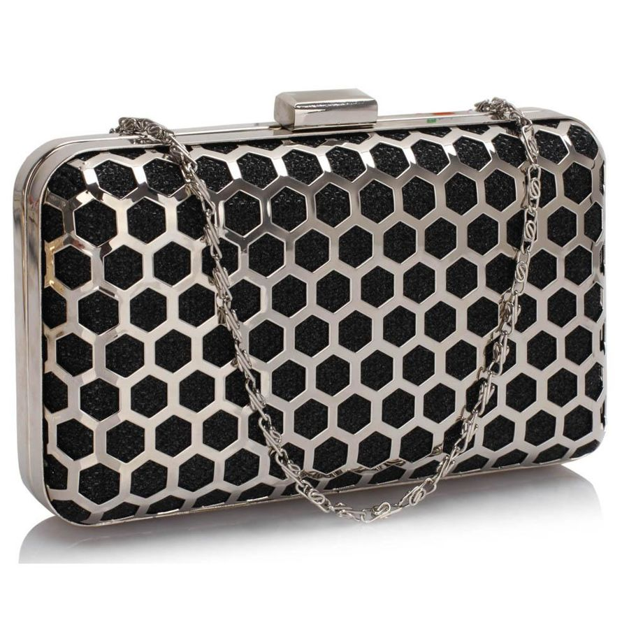 38374b03cf2de Czarno-srebrna szkatułka torebka wizytowa - czarny
