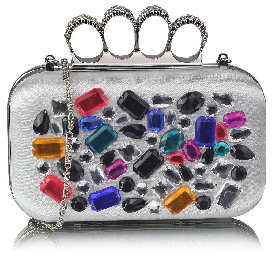 Biała torebka wizytowa szkatułka z kolorowymi kryształkami