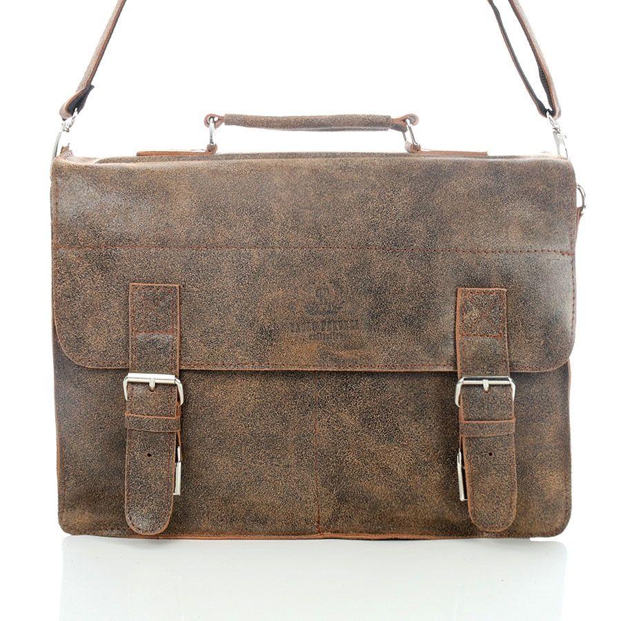 3c711498c2efa Brązowa elegancka torba   teczka skórzana Vintage jasnobrązowy ...