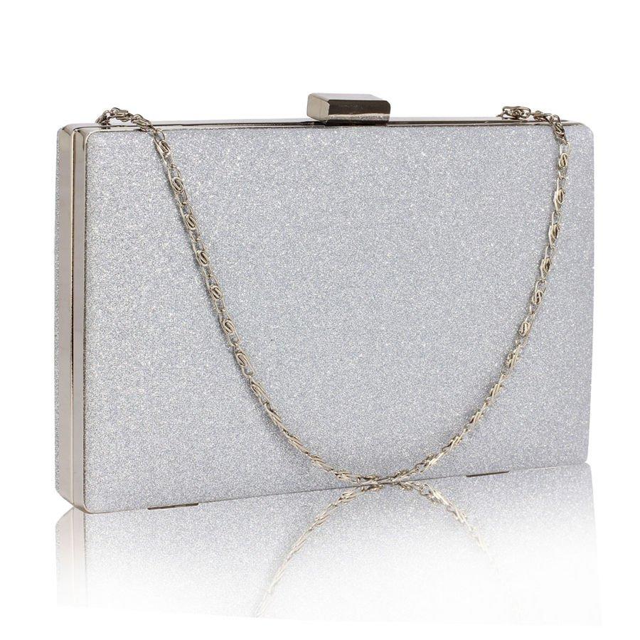 68190db187e1a Brokatowa torebka wizytowa kopertówka srebrna srebrny