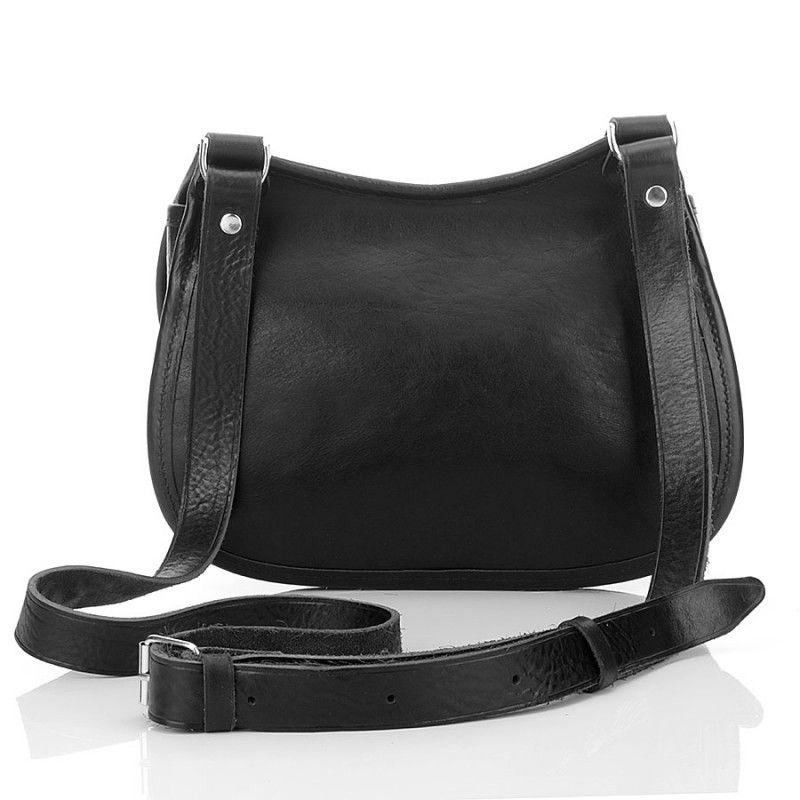 Czarna ekskluzywna skórzana torebka damska listonoszka