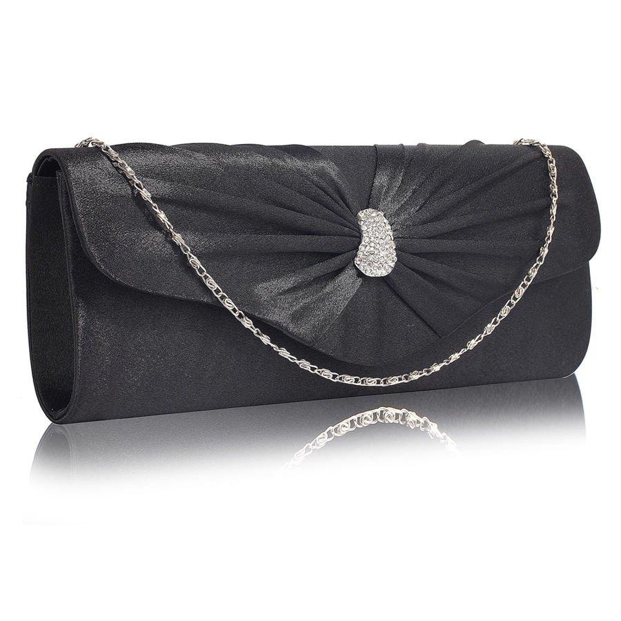 58a81f3fd25db Czarna satynowa kopertówka torebka wizytowa Kliknij, aby powiększyć ...