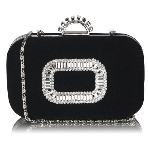 Czarna torebka wizytowa z kryształową aplikacją