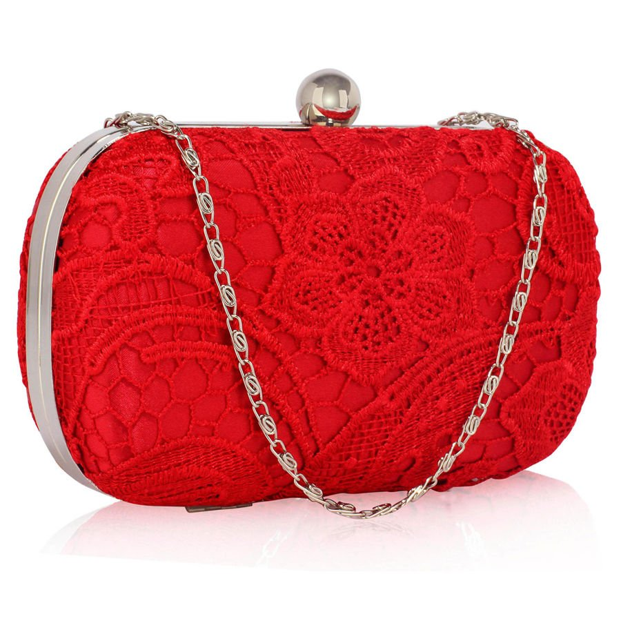 c8069f719c637 Czerwona koronkowa torebka wizytowa czerwony