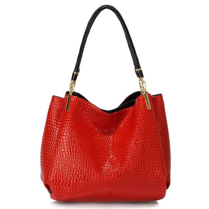 1a7b51143b676 Czerwona lakierowana torebka na ramię skóra węża czerwony   Sklep ...