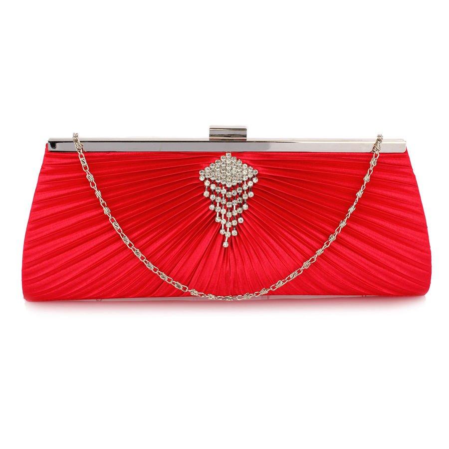 ad5200af25623 Czerwona torebka wizytowa kopertówka z ozdobą z kyształków czerwony ...