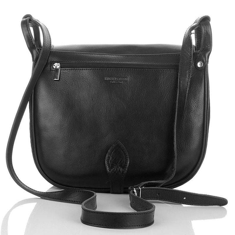 e211df5d5e34 Duża torebka listonoszka z półokrągłą klapką czarna czarny