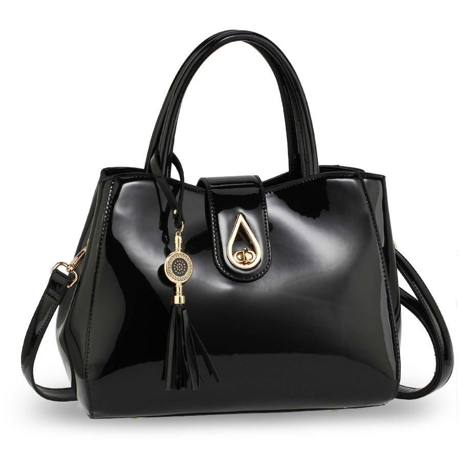 78d421df72b9e Elegancka lakierowana torebka damska czarna czarny