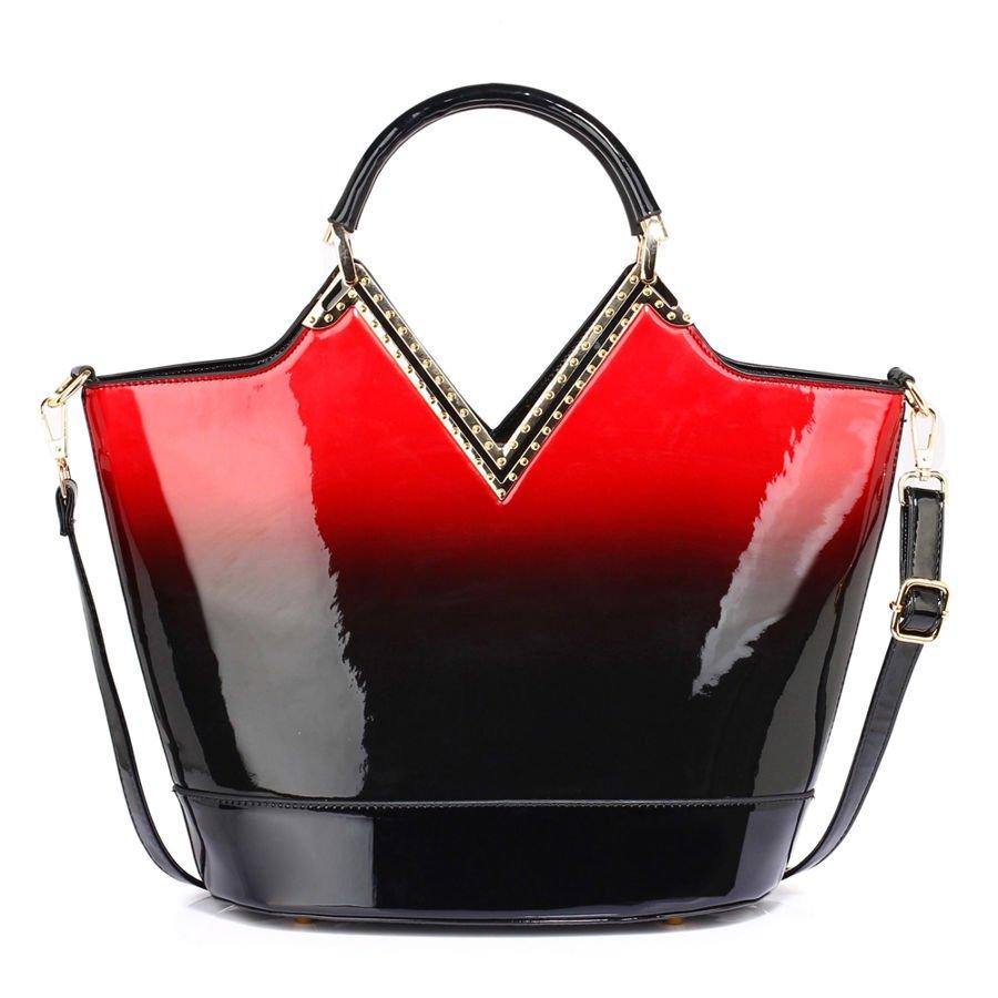 cec1128dc6258 Lakierowana torebka cieniowana czarna z czerwonym czarny