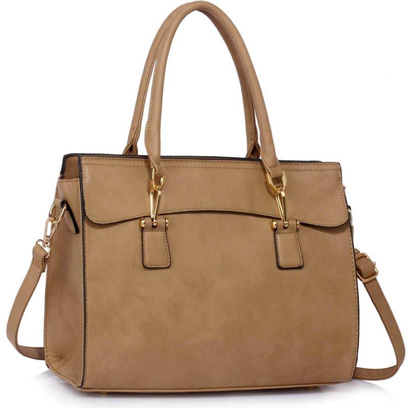 3236456e89836 Lekka beżowa klasyczna torebka damska beżowy