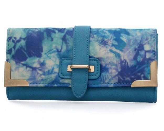 919995191b3ed Niebieski portfel damski z kolorowym nadrukiem Kliknij, aby powiększyć ...