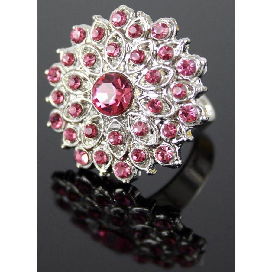 Pierścionek z kryształków Różowy Kwiat