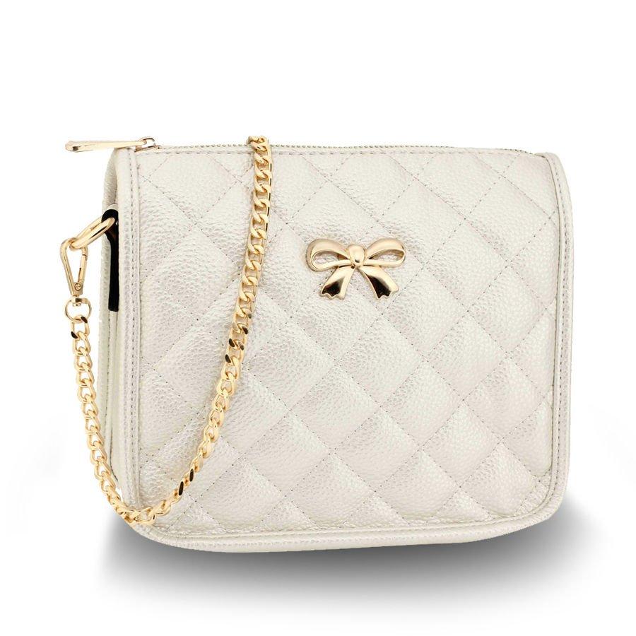 6c42f3de48d85 Pikowana torebka damska z łańcuszkiem i kokardką perłowy ecru ecru ...