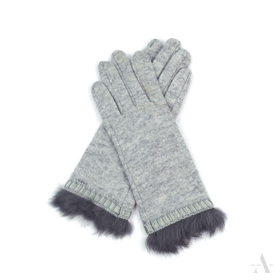 85d8865be5c56 Rękawiczki damskie wełniane z króliczym futerkiem jasno-szare szary ...