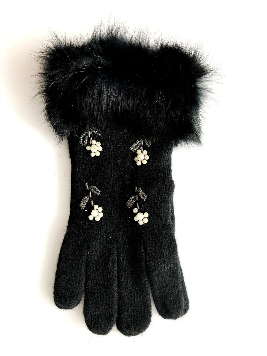 7eaf312578b10 Rękawiczki damskie z futerkiem i perełkami czarne czarny