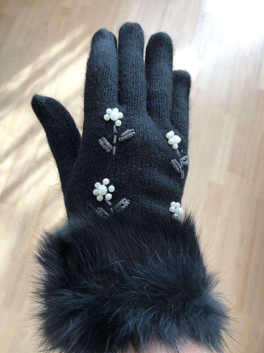 5439db3f69eb8 ... Rękawiczki damskie z futerkiem i perełkami czarne Kliknij
