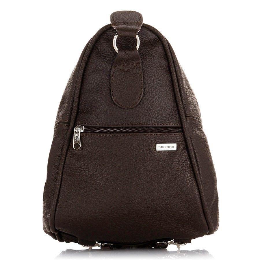 4719757fd797e Skórzana torebka i plecak w jednym ciemna czekolada brązowy
