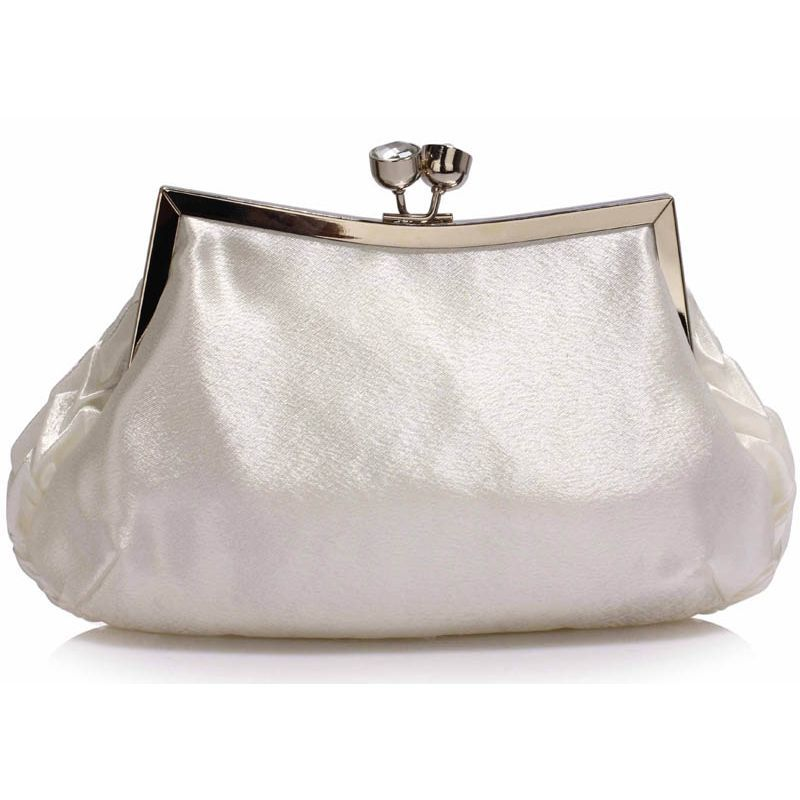 d291b27817 Ślubna biała torebka wizytowa z drapowanym przodem biały