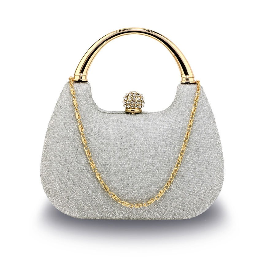 87f86a5306bea Srebrna brokatowa torebka wizytowa z rączką srebrny