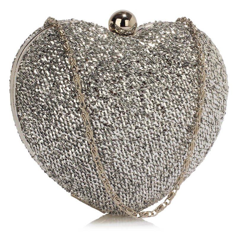 Srebrna torebka wizytowa w kształcie serca