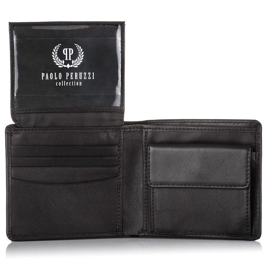 Zgrabny portfel męski z naturalnej skóry cielęcej brązowy